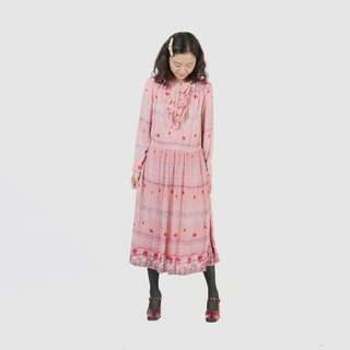 [Egg Plant Vintage] Sakura Stream of the River Printed Vintage Dress