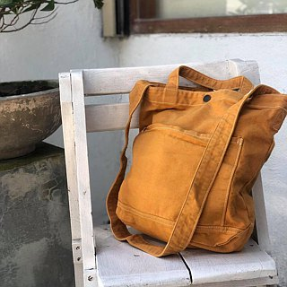 New Mustard Little Canvas Tote / Weekend bag / Shopping bag