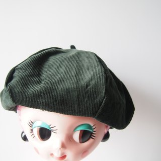 Green plaid / dark green double-sided cap painter hat