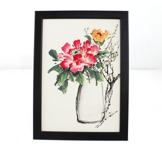Hand-painted hanging peony vase Chinese painting ornaments (with picture frame)