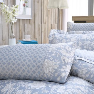Extra large size flower language (blue) - Tencel dual-use bed cover six-piece group [100% Lysell]