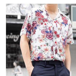 White - floral print shirt material