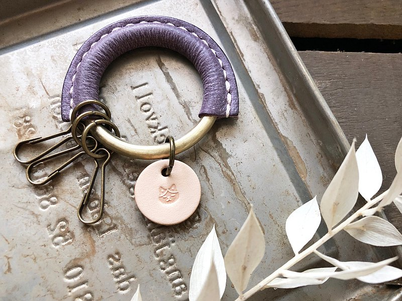 Classic key ring leather material, well stitched, key chain, Italian leather, vegetable tanned leather DIY