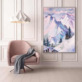 Snow Mountains Art Print. Watercolor Winter Mountains Lake Poster. Nordic Decor.