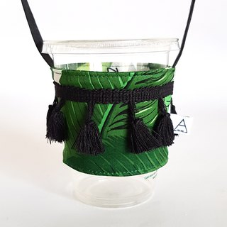 Holiday yarn tassel drink cup bag/large leaf