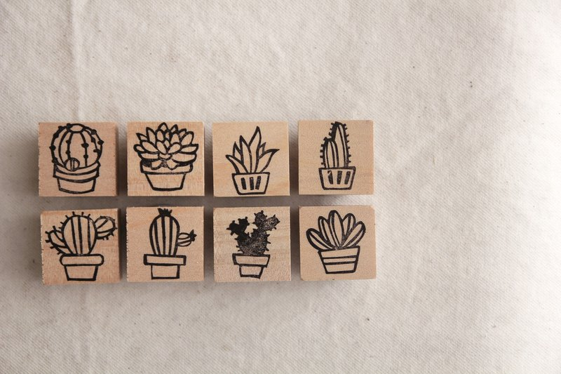 Seal Succulents Cactus Handmade Rubber Stamp