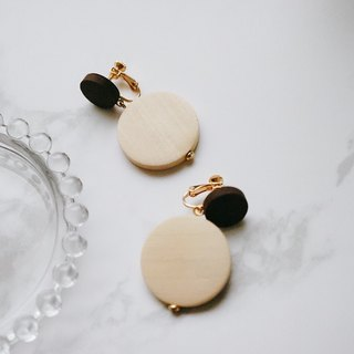 ITS-E133 [wooden earrings] large round small wooden ear clip ear clip