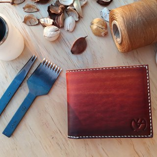 10 card short clip double banknote layer │ Italian vegetable tanned leather hand dye colored (10 characters)