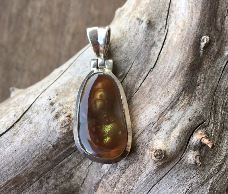 Natural Fire Agate Handmade Silver Pendant