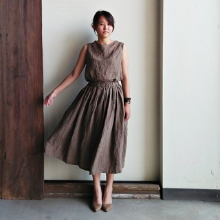 Discounted long skirt linen brown