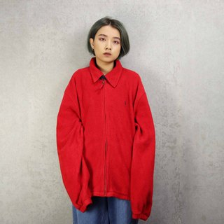 Tsubasa.Y Antique House A04 Polo Red Fleece Brushed Jacket, Fleece Jacket Warm Jacket