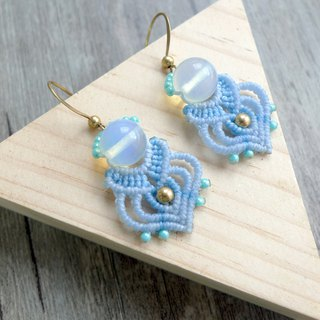 Misssheep-A70-South American Waxed Woven Opal Brass Bead Japanese Pearl Earrings (Turnable Ear Clips)