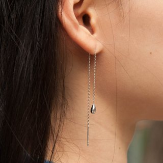 Silver drop long drop earrings