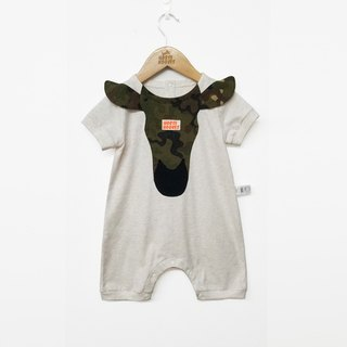 Original design baby camouflage pony patch short-sleeved jumpsuit summer climbing clothes full moon gift package fart clothing