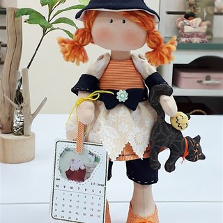 October calendar girl handmade rag doll