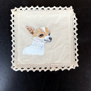 Hand-painted design | Chihuahua | Wool Kid | Lace Coaster