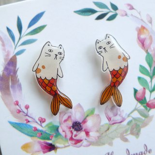 Misssheep- U53 cute cat mermaid hand made earrings (ear needles / ear clips)