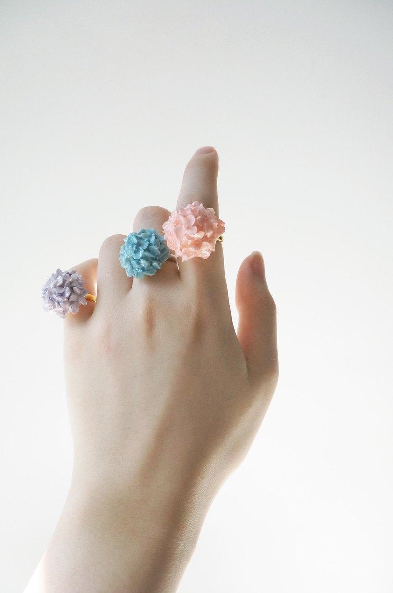 繡球花戒指 手工黏土裱花 可客製