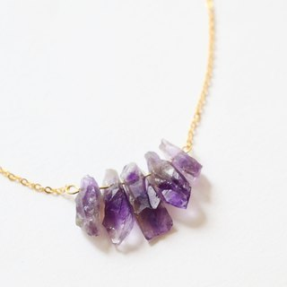 Amethyst necklace - natural crystal necklace 18k gold plated crystal choker