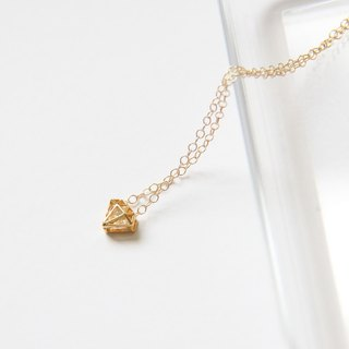 Diamond + Diamond Necklace (Gold) / Diamond shape charm with cubic Zirconia pd