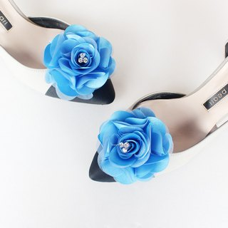 Decorative royal blue  flower Bridal Shoe Clips  for Wedding Party