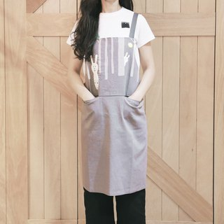 Taiwan Hare Embroidered Apron - Grey