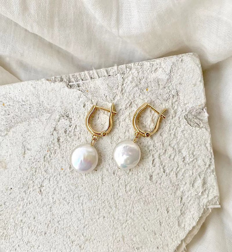 Button Pearl Earrings Copper Plated 14K Gold Natural Freshwater Button Pearls