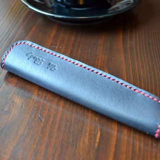 Real leather hand made two-color pen case pen bag single holder Montblanc custom-made free English words
