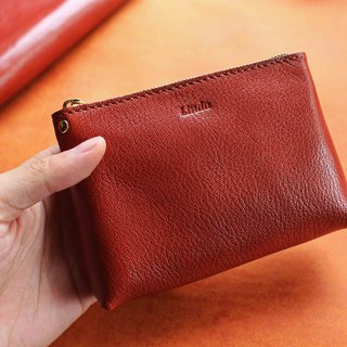 [VULCAN wide-bottom coin purse] Italian goatskin / kangaroo leather coin purse universal bag