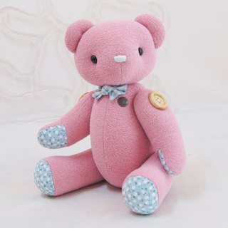 Handmade teddy bear pudding bear organic powder 34cm custom color and embroidered word finished