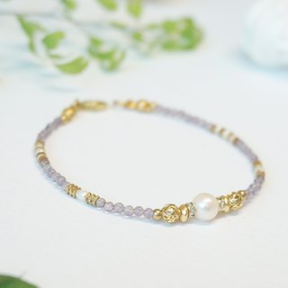 Gaia Series - Amethyst Brass Bracelet (Light Purple)/ February Birthstone