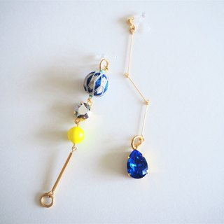 tachibanaya アシンメトリー japanese TEMARI earrings Blue swarovski Yellow