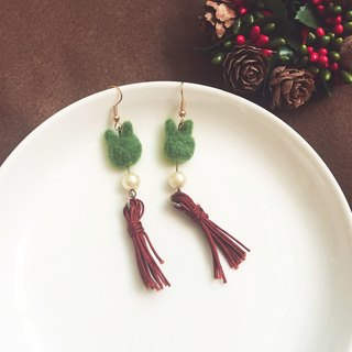 Mini fleshy handmade tassel earrings - Biguang ring _ can be changed clip