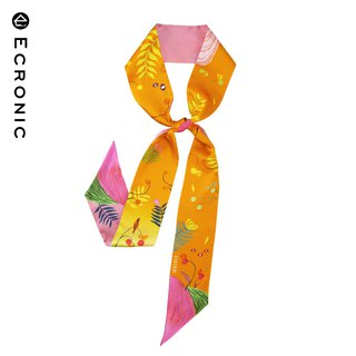 160*8cm Gradient Print Double-sided Silk Long Small Scarf Thin Narrow Scarf [Yugang ECRONIC]