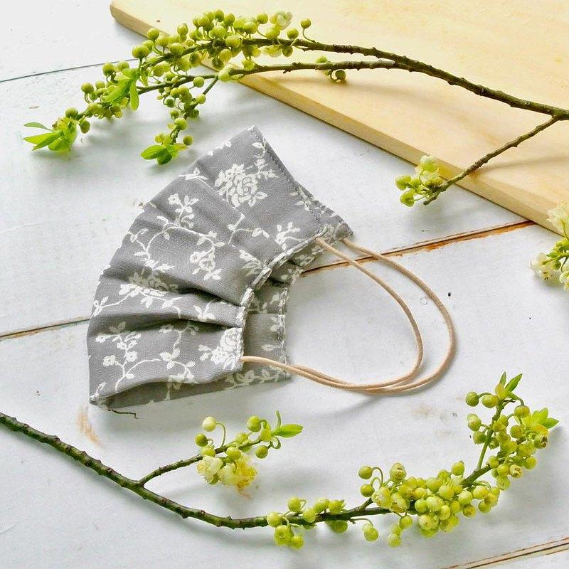 煙燻玫瑰系 灰色 手工立體口罩 可洗滌 日本製純棉紗布 成人