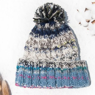 Hand-knitted pure wool hat / knit hat / knitted hat / inner brush hair hand-woven hat - Nordic blueberry cake