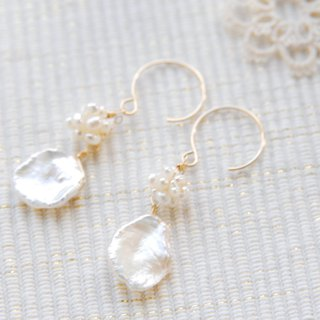 Earring with pearl like mulberry fruit 14 kgf