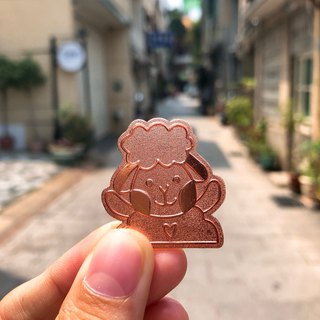 Rose gold sheep badge