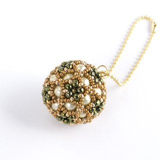 Olive & Brown christmas ornament, star flower ball charm, beaded ball, star ball key chain, beadwork, beaded sphere, 379