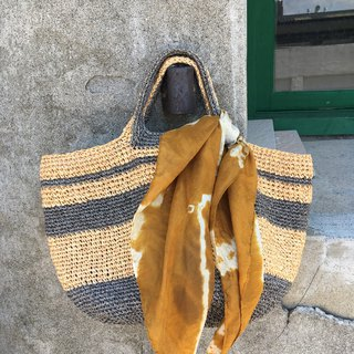 Sunny afternoon at the turf picnic. Hand-woven bag (with hand-dyed pure silk scarf)