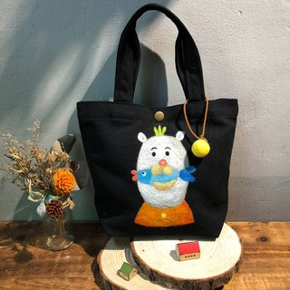 Wool felt embroidery green lunch bag - white bear eat fish