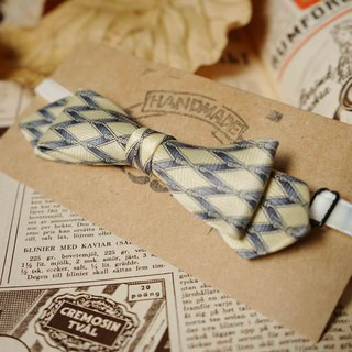 Papa's Bow Tie- Antique Cloth Tie Tie Handmade Bow Tie - Diamond Goose Yellow - Narrow Edition