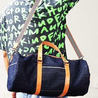 Denim and Leather Duffle Bag / Day Bag / Gym Bag / Weekender Bag / Shoulder Bag
