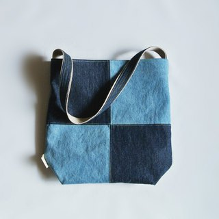 Denim personality simple stitching side backpack