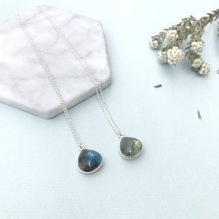 Premium Glossy heart-shaped necklace labradorite