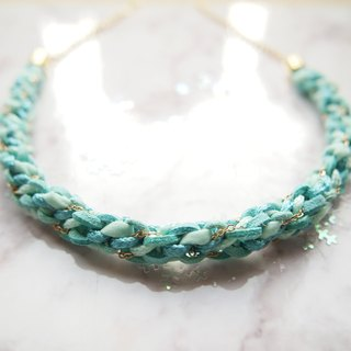 Tailor made turquoise braided leather necklace, minimalist chain necklace TNC009