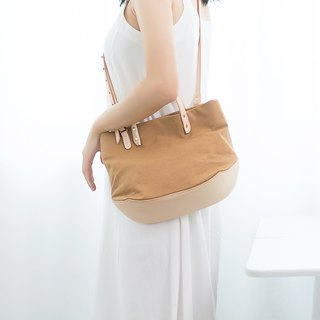 [Canvas meets leather] Summer portable mini canvas handbag dual-use Messenger bag