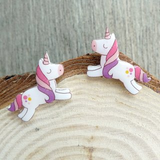 Misssheep-U61-Run ~ Unicorn Cute hand-painted style Unicorn Handmade earrings (ear / ear clip)