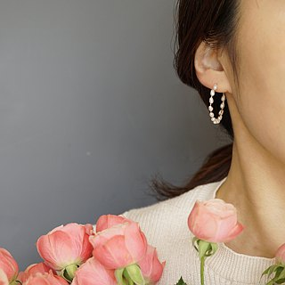 Rice Pearl Hoop Earrings