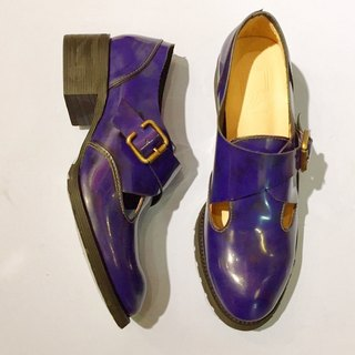 Painting # 8029 || calfskin buckle low-heeled shoes rub color Purple ||